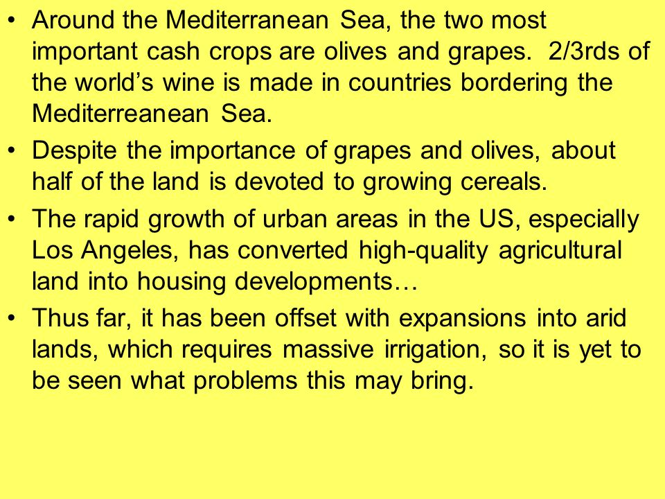 Around the Mediterranean Sea, the two most important cash crops are olives and grapes. 2/3rds of the world's wine is made in countries bordering the Mediterreanean Sea.