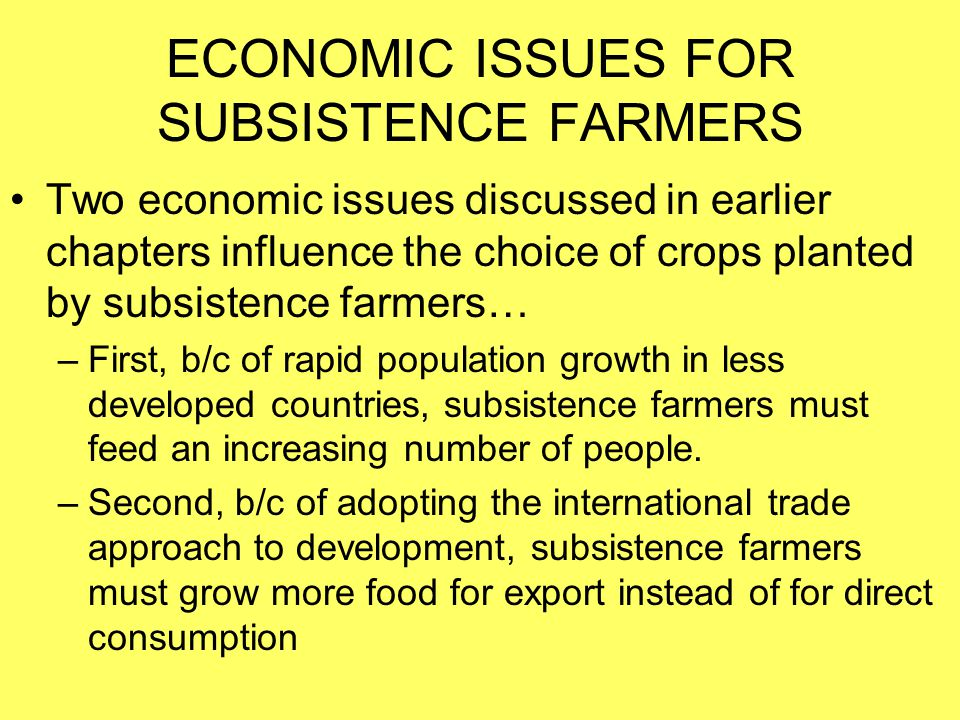 ECONOMIC ISSUES FOR SUBSISTENCE FARMERS