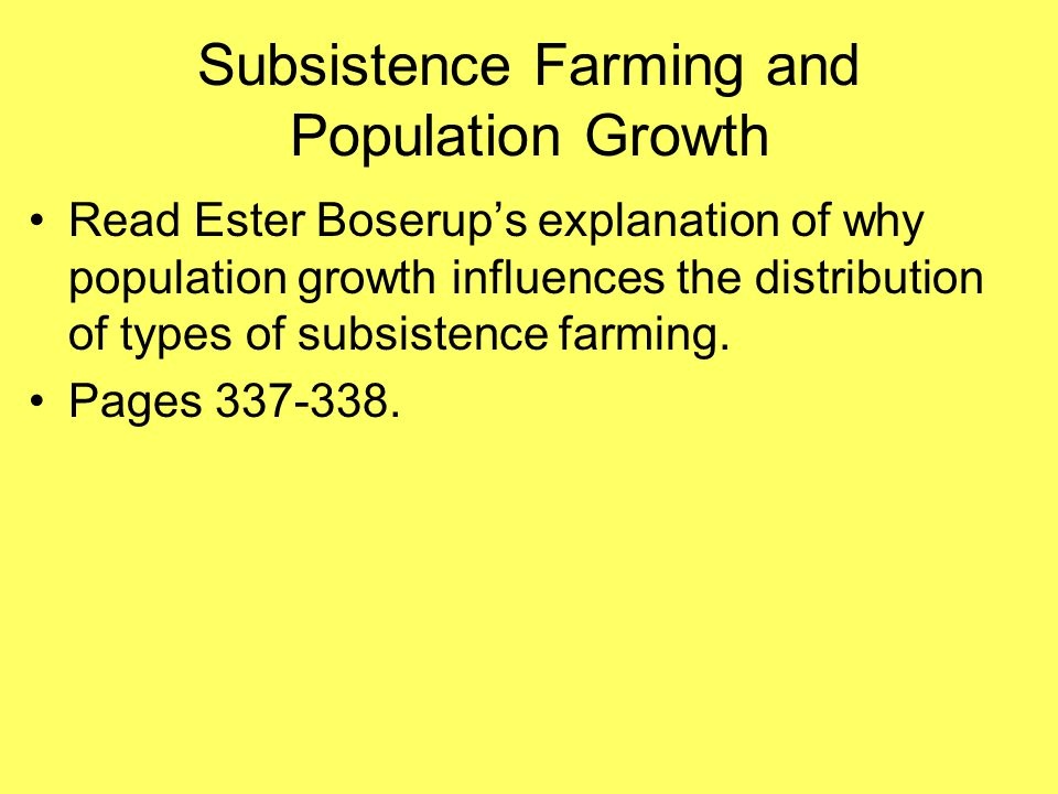 Subsistence Farming and Population Growth