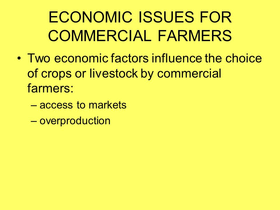 ECONOMIC ISSUES FOR COMMERCIAL FARMERS