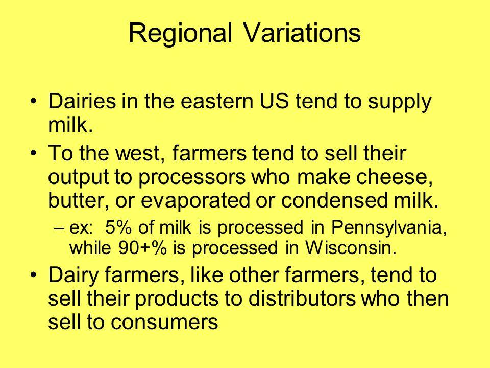 Regional Variations Dairies in the eastern US tend to supply milk.