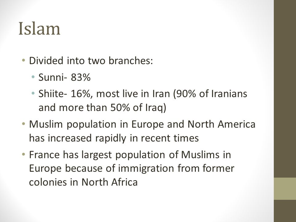 Islam Divided into two branches: Sunni- 83%