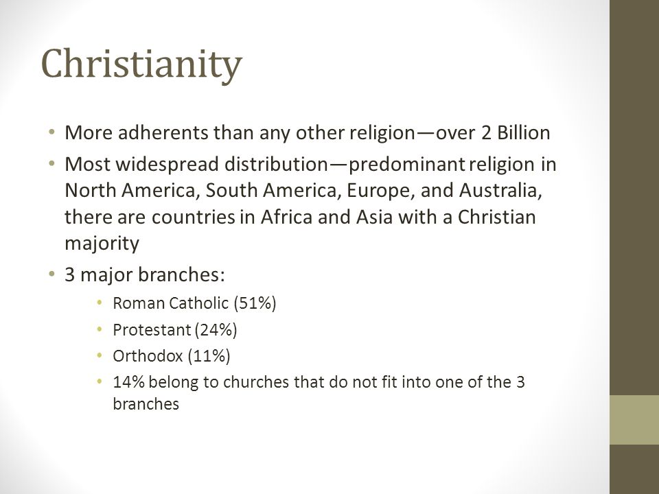 Christianity More adherents than any other religion—over 2 Billion