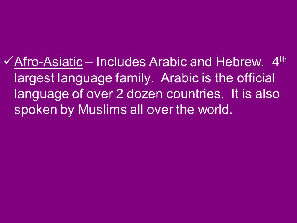 Afro-Asiatic – Includes Arabic and Hebrew. 4th largest language family