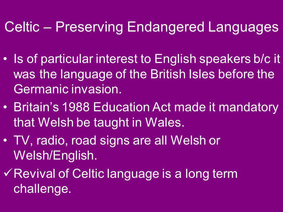 Celtic – Preserving Endangered Languages