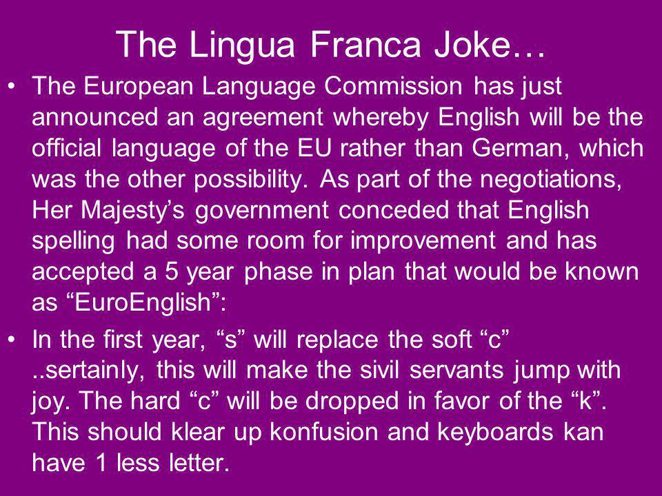 The Lingua Franca Joke…