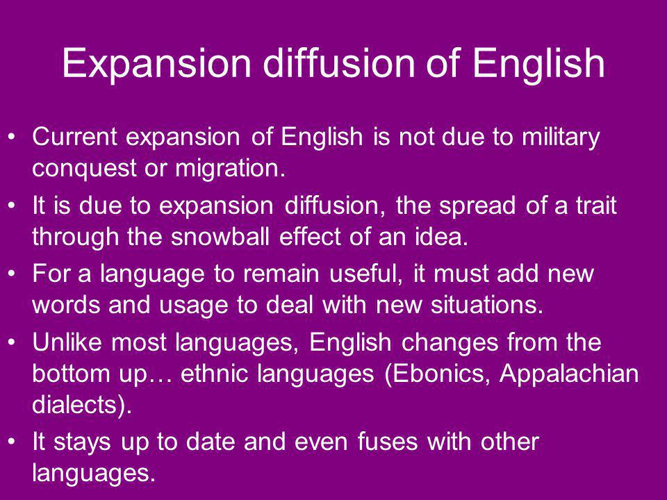 Expansion diffusion of English