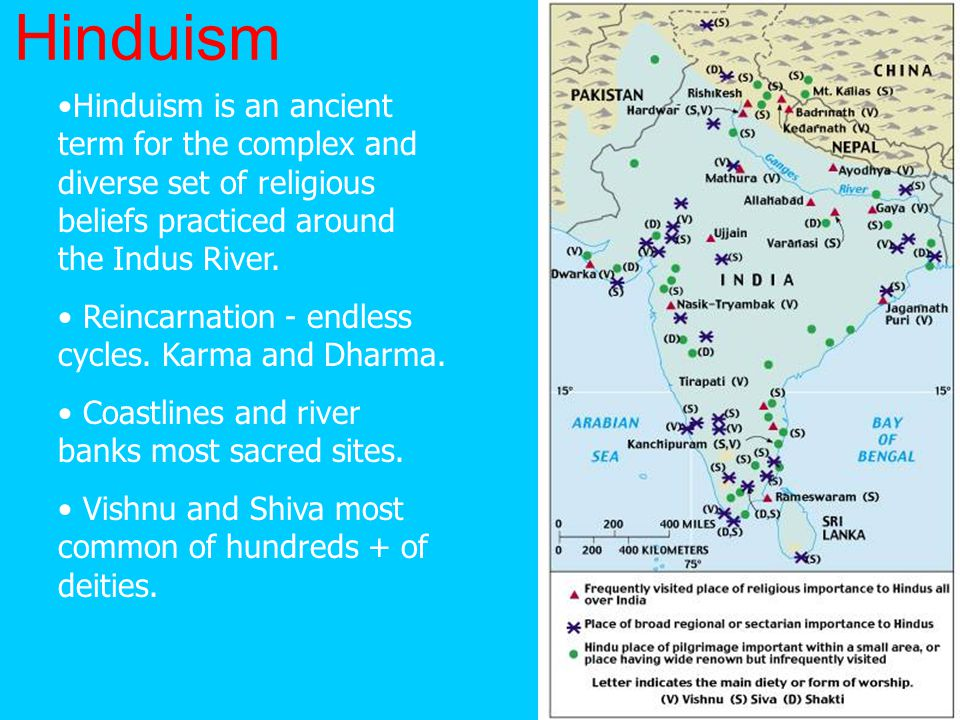 Hinduism Hinduism is an ancient term for the complex and diverse set of religious beliefs practiced around the Indus River.