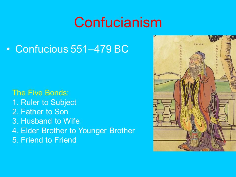Confucianism Confucious 551–479 BC The Five Bonds: 1. Ruler to Subject