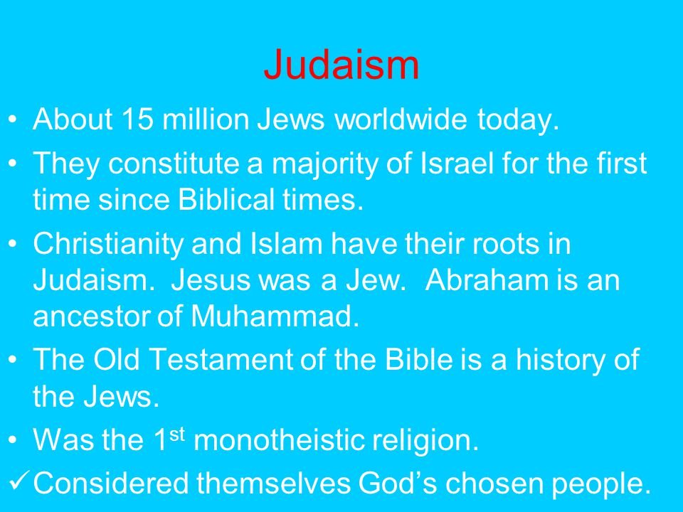 Judaism About 15 million Jews worldwide today.