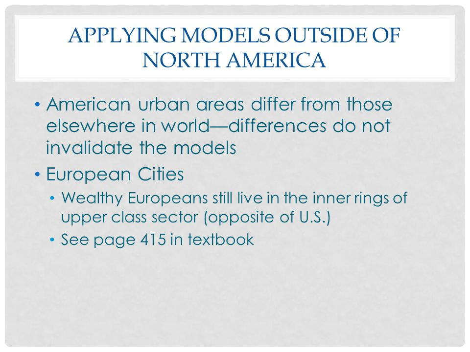 Applying Models outside of North America