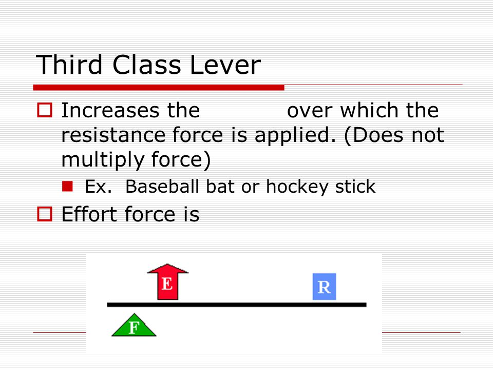 Third Class Lever Increases the over which the resistance force is applied. (Does not multiply force)
