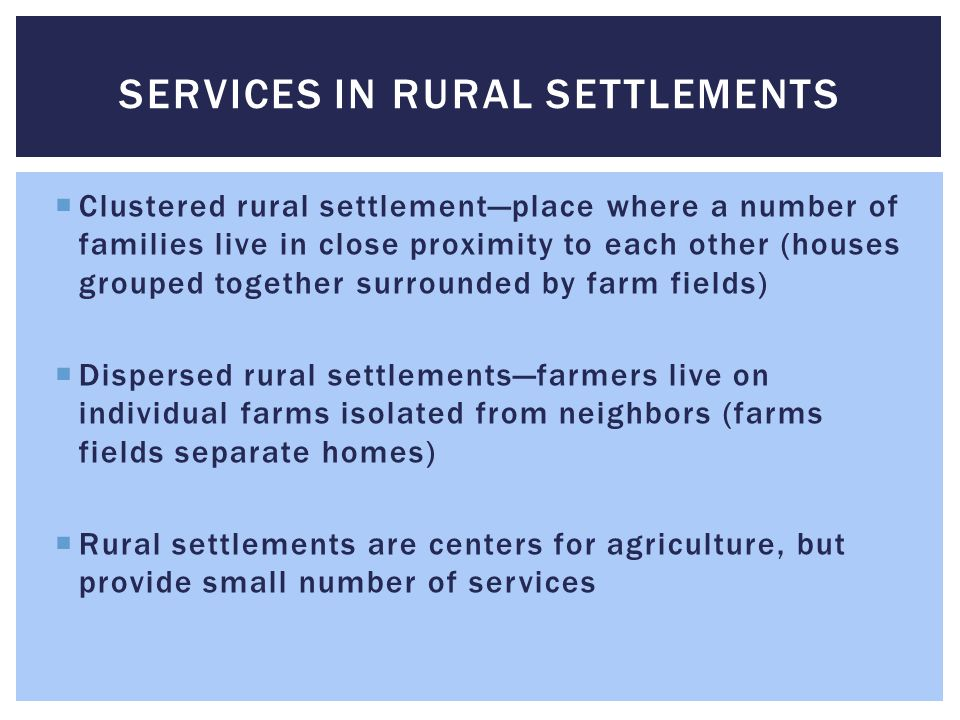 Services in rural settlements