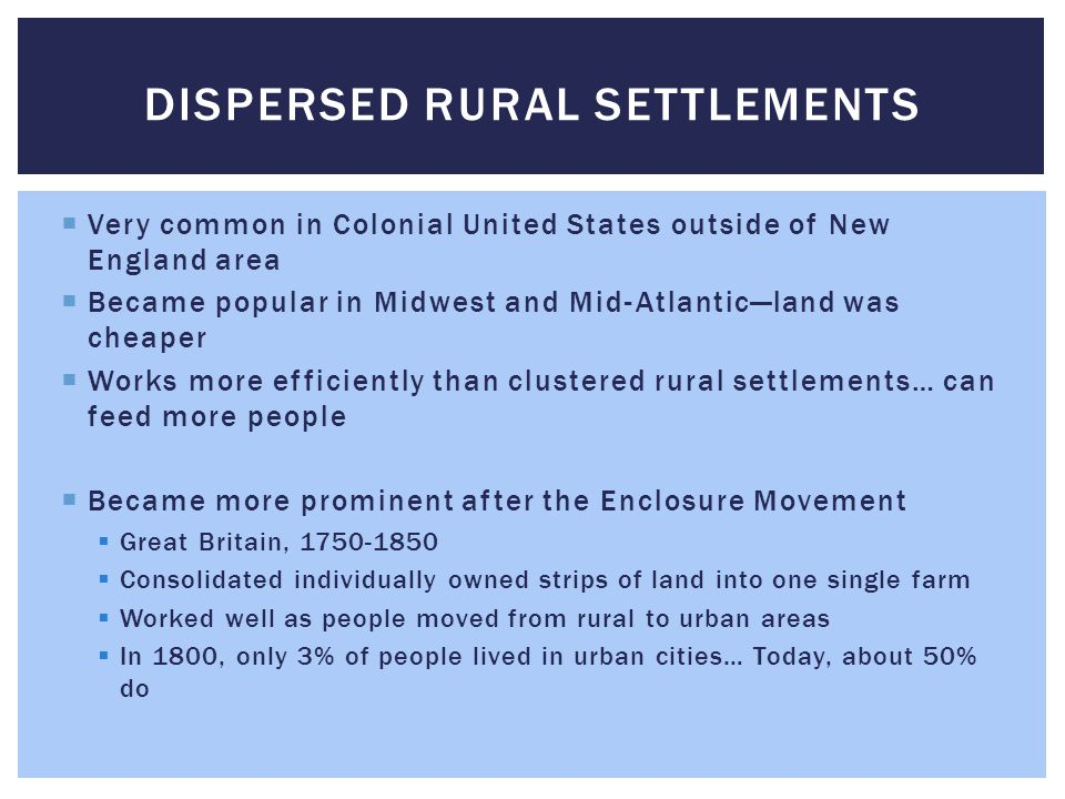 Dispersed Rural settlements