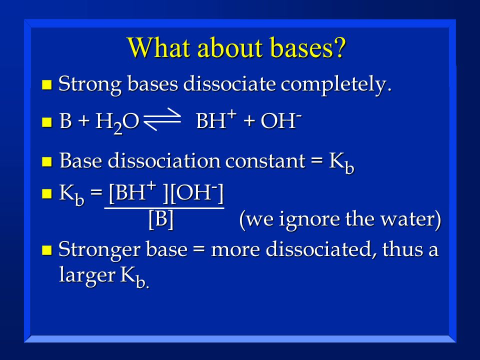 What about bases Strong bases dissociate completely.