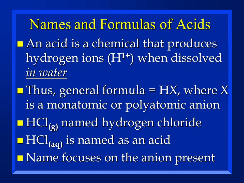 Names and Formulas of Acids
