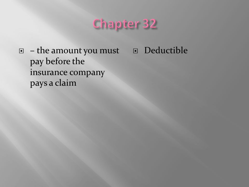 Chapter 32 – the amount you must pay before the insurance company pays a claim Deductible