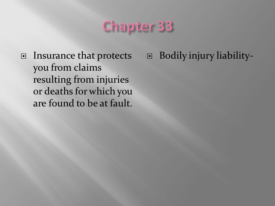 Chapter 33 Insurance that protects you from claims resulting from injuries or deaths for which you are found to be at fault.