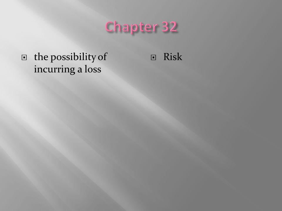 Chapter 32 the possibility of incurring a loss Risk