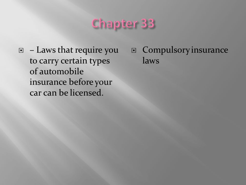 Chapter 33 – Laws that require you to carry certain types of automobile insurance before your car can be licensed.