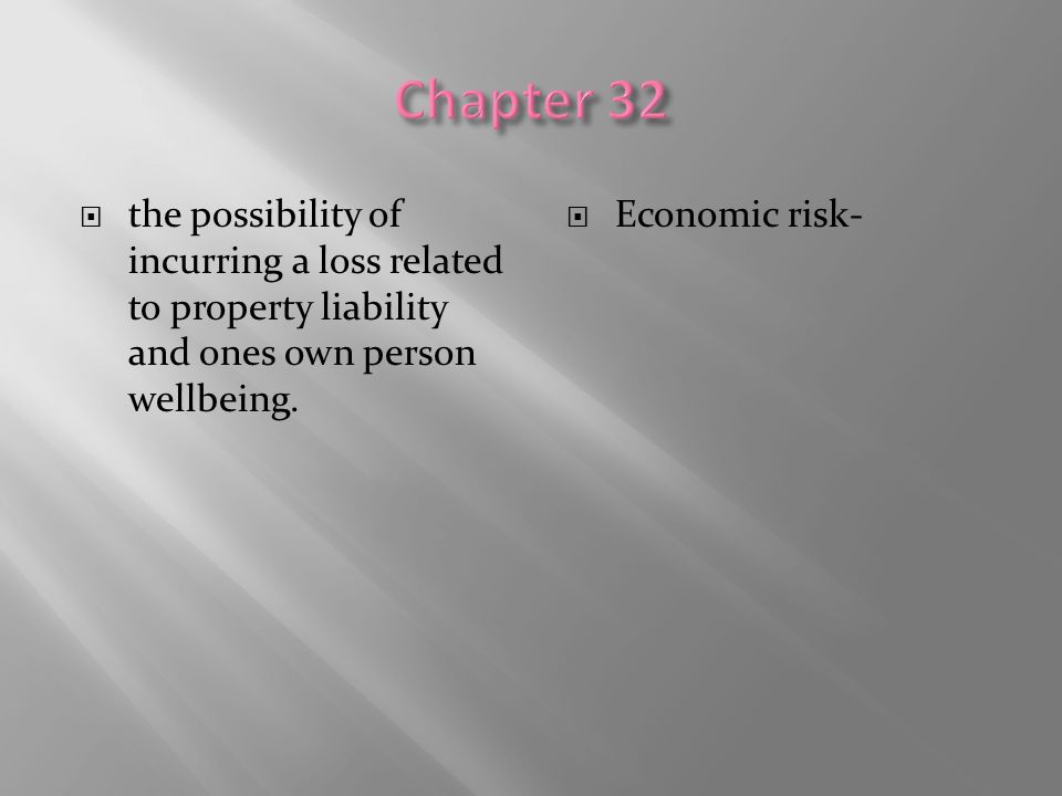 Chapter 32 the possibility of incurring a loss related to property liability and ones own person wellbeing.