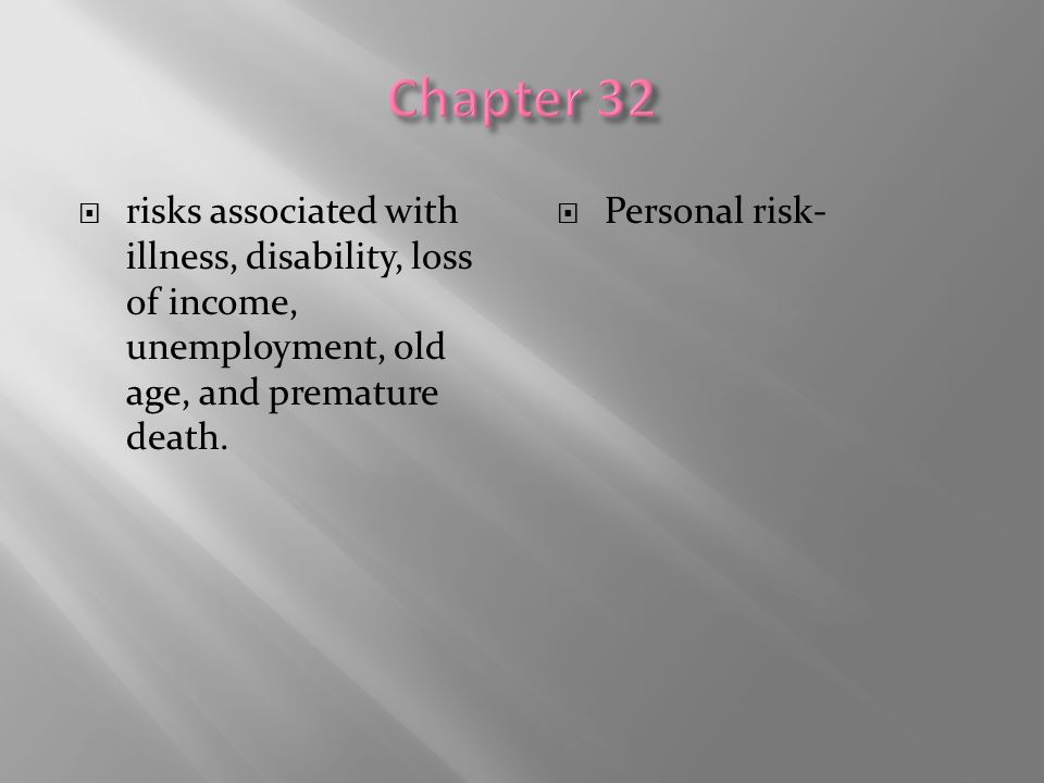 Chapter 32 risks associated with illness, disability, loss of income, unemployment, old age, and premature death.