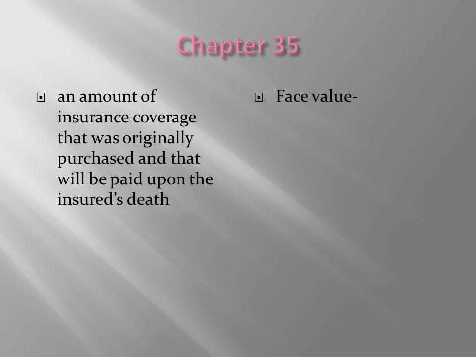 Chapter 35 an amount of insurance coverage that was originally purchased and that will be paid upon the insured's death.