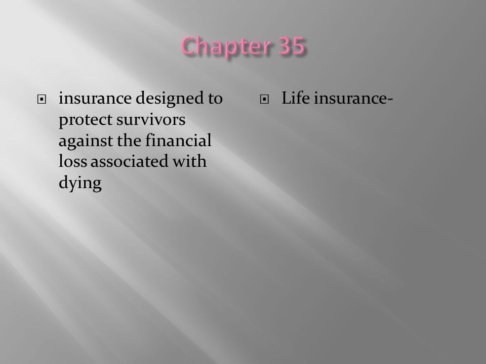 Chapter 35 insurance designed to protect survivors against the financial loss associated with dying.