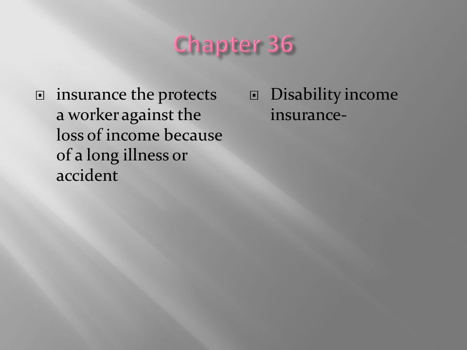 Chapter 36 insurance the protects a worker against the loss of income because of a long illness or accident.