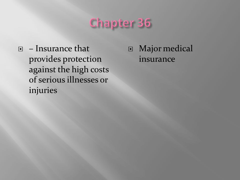 Chapter 36 – Insurance that provides protection against the high costs of serious illnesses or injuries.