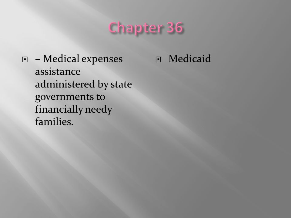 Chapter 36 – Medical expenses assistance administered by state governments to financially needy families.