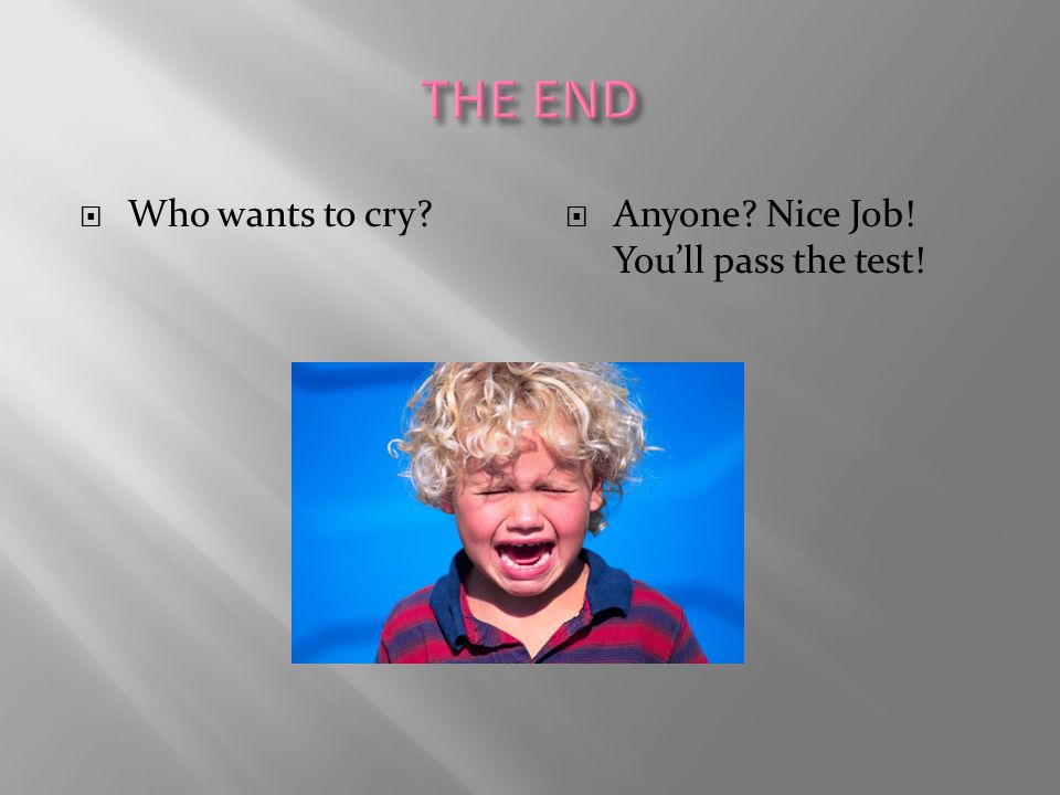 THE END Who wants to cry Anyone Nice Job! You'll pass the test!
