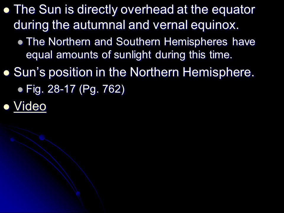 Sun's position in the Northern Hemisphere. Video