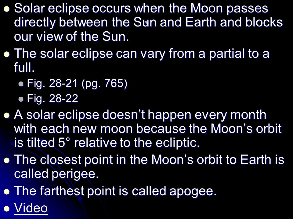 Solar eclipse occurs when the Moon passes directly between the Sun and Earth and blocks our view of the Sun.