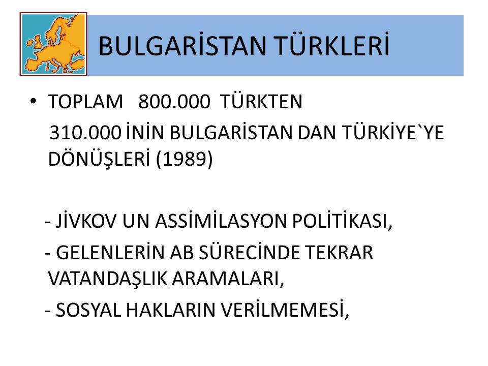 BULGARİSTAN TÜRKLERİ TOPLAM 800.000 TÜRKTEN