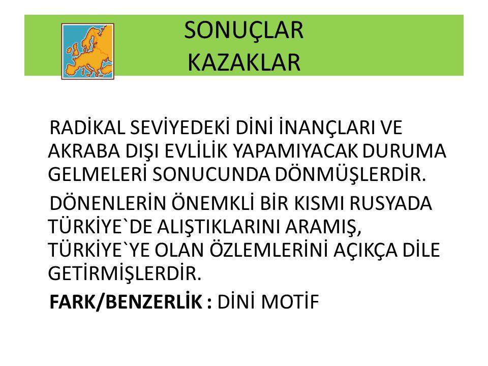 SONUÇLAR KAZAKLAR