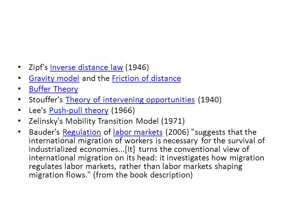 Zipf s Inverse distance law (1946)