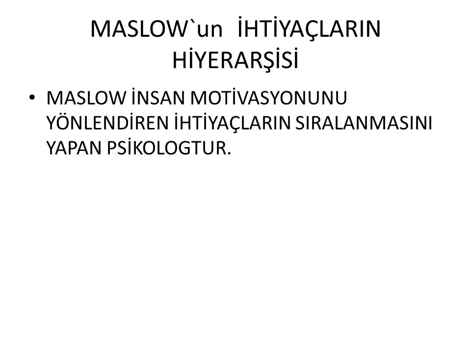 MASLOW`un İHTİYAÇLARIN HİYERARŞİSİ