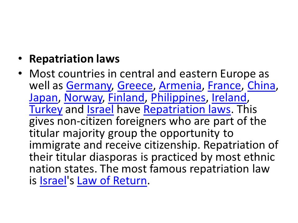 Repatriation laws