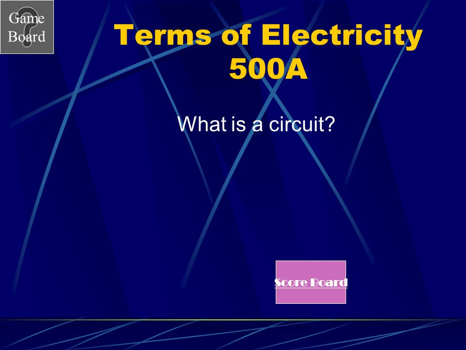 Terms of Electricity 500A What is a circuit Score Board