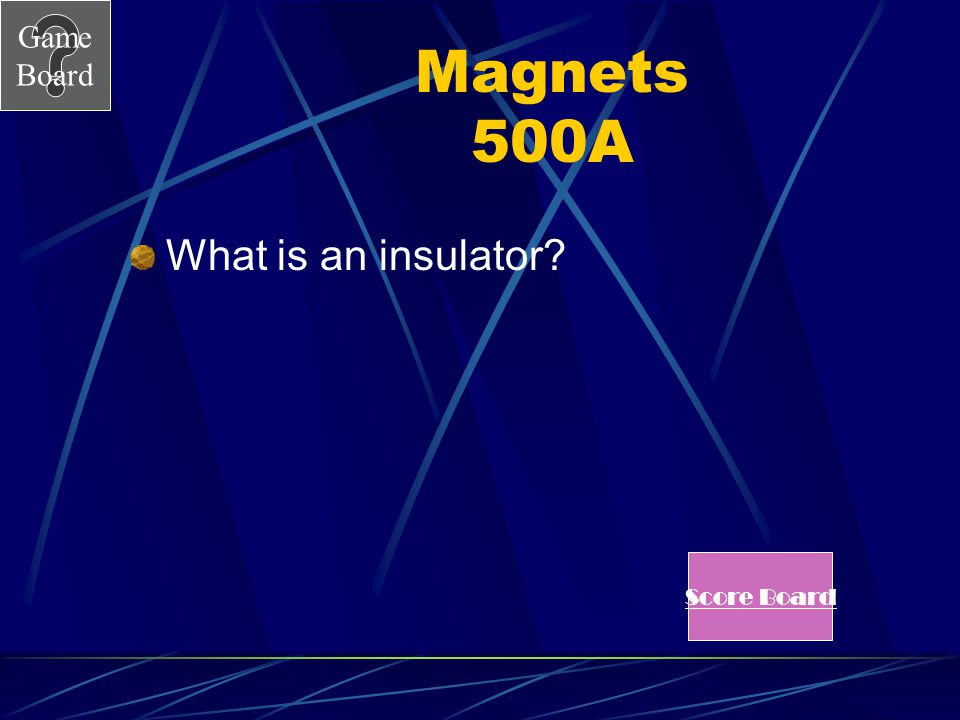 Magnets 500A What is an insulator Score Board