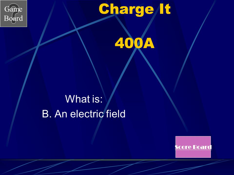 Charge It 400A What is: B. An electric field Score Board