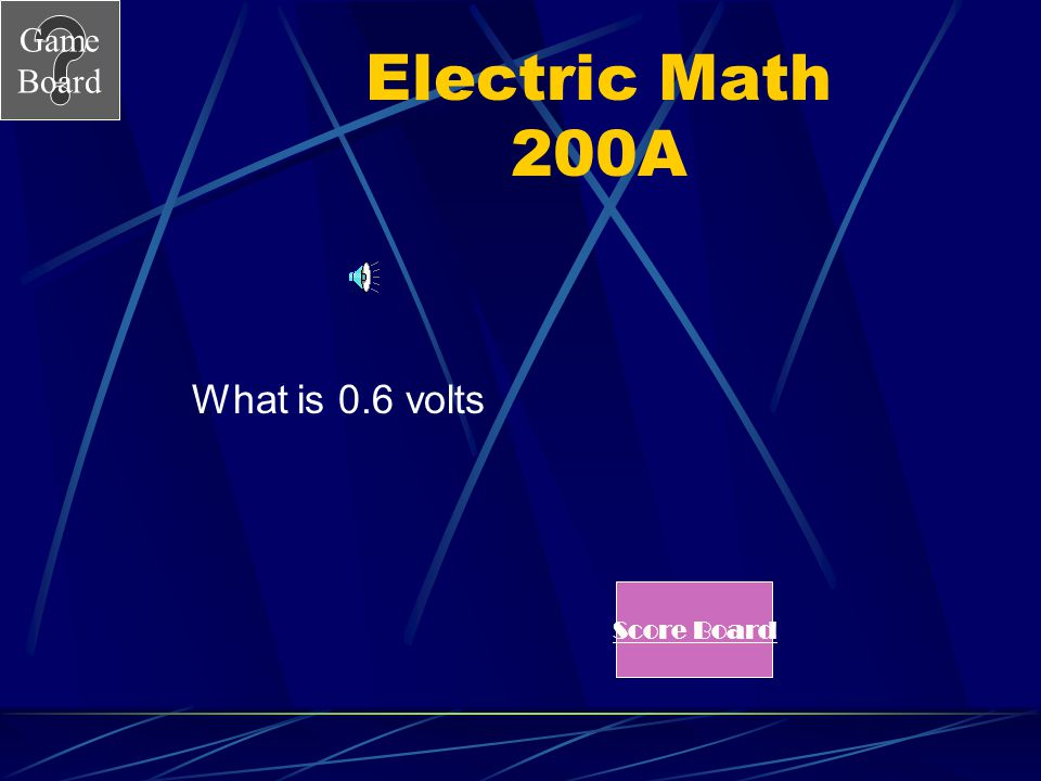Electric Math 200A What is 0.6 volts Score Board