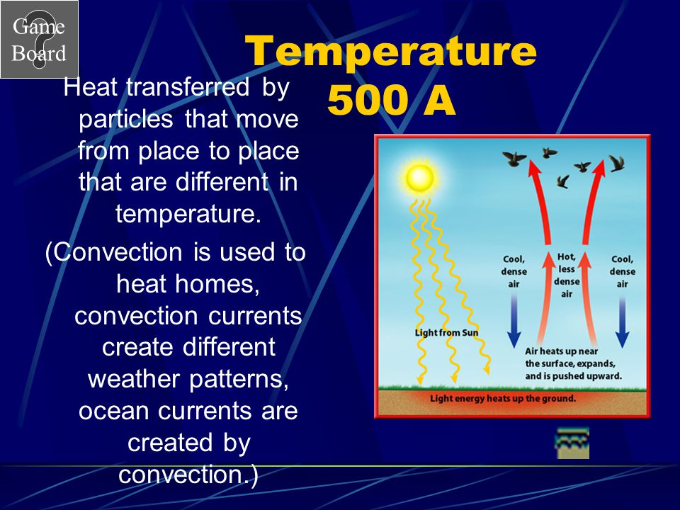 Temperature 500 A Heat transferred by particles that move from place to place that are different in temperature.