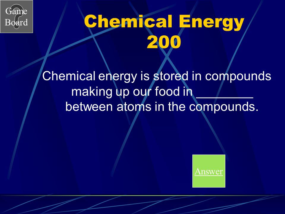 Chemical Energy 200 Chemical energy is stored in compounds making up our food in ________ between atoms in the compounds.