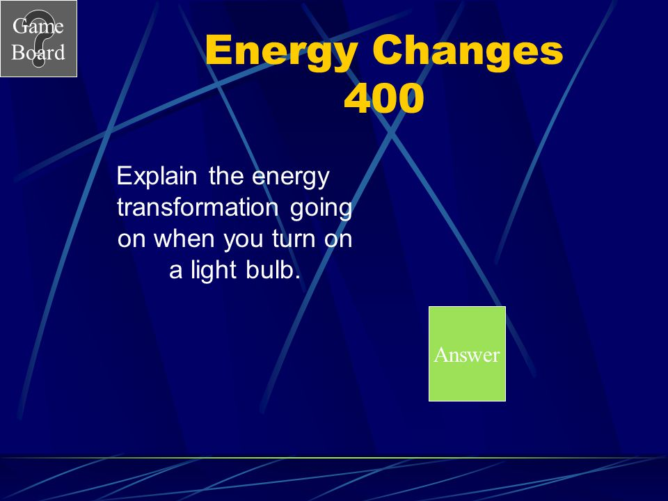 Energy Changes 400 Explain the energy transformation going on when you turn on a light bulb. Answer
