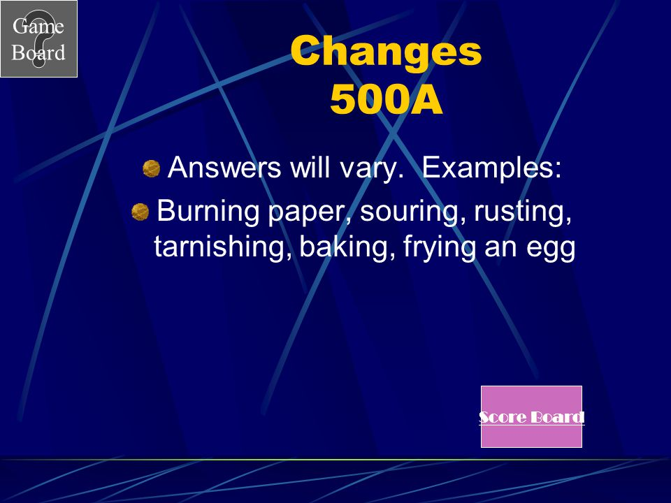 Changes 500A Answers will vary. Examples: