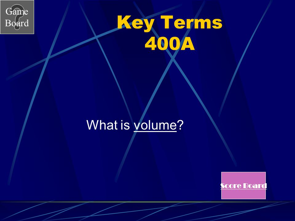 Key Terms 400A What is volume Score Board