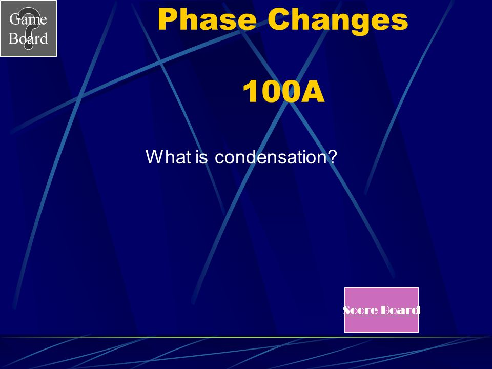 Phase Changes 100A What is condensation Score Board