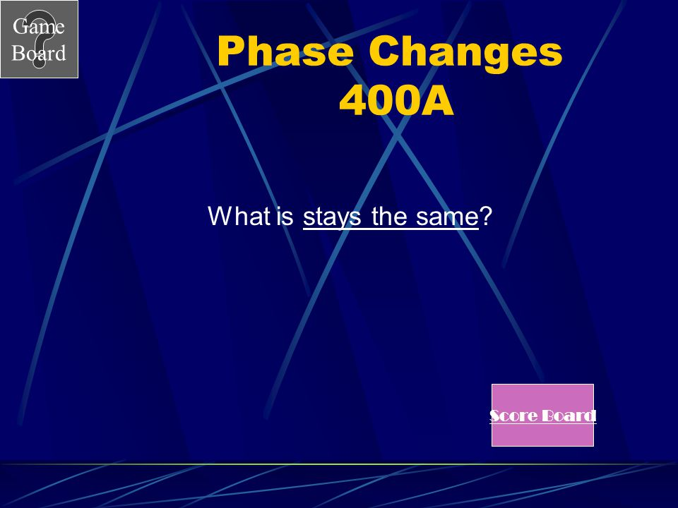 Phase Changes 400A What is stays the same Score Board